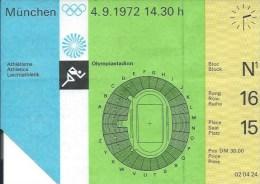 Sport Match Ticket UL000295 - Olympic Games: Germany (Deutschland) München 1972-09-04 - Match Tickets