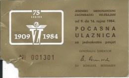 Ticket UL000300 - Exhibition: Yugoslavia Croatia Zagreb Velesajam 1984-09 - Tickets - Entradas