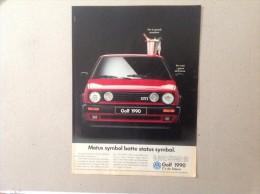 ADVERTISING PUBBLICITA´  VOLKSWAGEN GTI STATUS SYMBOL -- 1989 -  OTTIMO - Werbung