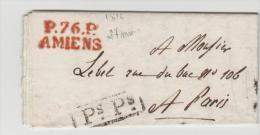 FP056 /  FRANKREICH -  P.76.P. Amiens In Rot 1816 Auf Sauberem Minibrief Mit Vollem Textinhalt - 1801-1848: Precursori XIX