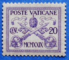 VATICAN 20 C 1929 POPE´S COAT OF ARMS M 3 UNUSED WITH FALZ - Ongebruikt