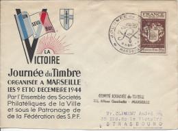 France - Lettre Complète - Journée Du Timbre 9/12/1944 Marseille Bouches Du Rhone - 1921-1960: Modern Period