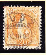 Heimat GR ZUOZ 30.3.1908 Auf 20Rp. Stehende Helvetia Orange - 1882-1906 Wappen, Stehende Helvetia & UPU