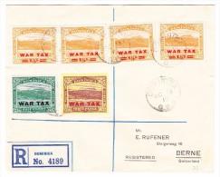 Dominica 1919 R-Brief Nach Bern Mit Kriegstaxen Ausgaben 2 1/2p Orange (4) 1/2p Blaugrün Und 3p Lila Und Gelb. - Dominique (...-1978)