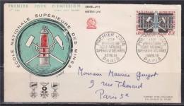 = Anniversaire Ecole Nationale Supérieure Des Mines 1er Jour Paris 11.4.59 N°1197 Et Complément Au Verso N°1186 - 1950-1959