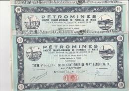 2 TITRES DE 10 CENTIEMES PART BENEFICIAIRE- PETROMINES -SOC .FRANCO-AFRICAINE DE PETROLE ET MINES - Mines
