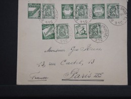 BELGIQUE - Enveloppe De Bruxelles Pour Paris En 1943 - Censure Au Dos - Aff. Timbres Avec Publicités -A Voir- Lot P14296 - Werbung