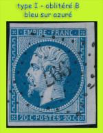 N° 14A NAPOLÉON SECOND EMPIRE 1853 - TYPE I - BLEU SUR AZURÉ - OBLITÉRÉ B - PC 977 : COURS RHÔNE - - 1853-1860 Napoleone III