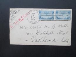 USA / Guam 1936 Nr. 380 Flugpost. Von Guam Cable Station Nach Oakland. Per China Clipper. Interessanter Beleg!! - Guam