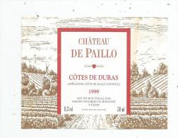 étiquette , Château De PAILLO , Côtes De DURAS , Appellation Controlée , 1999 , Grands Vignobles Du Sud Ouest - Castles