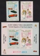 Turkish Cyprus Kuzey Kibris Turk Cumhuriyeti 2015 MNH - EUROPA, Old Toys,Complete Set Of Stamps + Souvenir Seet Block - Cyprus (Turkey)