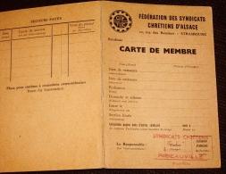 Ribeauvillé Alsace - Vieux Papiers - Carte De Membre CFTC Syndicat Chrétien - Documentos Históricos