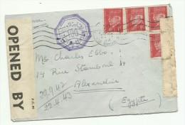 4 X 1F Pétain Rouge Sur Lettre De Toulouse Pour L´Egypte, Alexandrie, Censurée 1942-1943 - Marcophilie (Lettres)