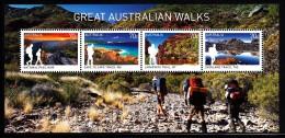 Australia MNH 2015 Souvenir Sheet Of 4 Great Australian Walks - National Pass, Cape To Cape, Overland, Larapinta - 2010-... Elizabeth II