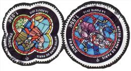 Oblitération Cachet à Date Sur Timbre De France N° 4714 Et 4715 Vitraux De Notre Dame De Paris - Francia