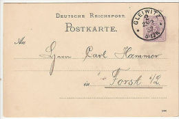 Germany: Printed Postcard From Gleiwitz To Forst, 23 February 1887 - Unclassified