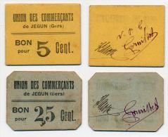 JEGUN // UNION Des COMMERCANTS // 5 & 25 Centimes - Bons & Nécessité