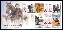 Australia MNH 2015 Souvenir Sheet Of 5 Animals In War A Century Of Service - Nuovi