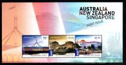 Australia MNH 2015 Souvenir Sheet Of 3 Parliament Houses Australia, New Zealand, Singapore - Emissions Communes