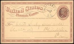 USA LUXUS-GSK 1876 Glasklarem Duplex-Stempel Whitaker S.C. > Philadelphia