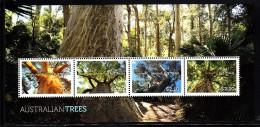 Australia MNH 2015 Souvenir Sheet Of 4 Trees: Lemon-scented Gum, Bottle, Moonah, Green Fig - Arbres