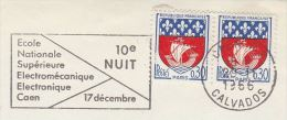 1966 Caen FRANCE Stamps COVER SLOGAN Pmk ELECTRONIC ELECTROMECHANICAL National SCHOOL Electricity Electric - Electricity