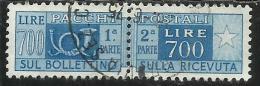 ITALIA REPUBBLICA ITALY REPUBLIC 1955 1979 PACCHI POSTALI PARCEL POST STELLE STARS 1966 LIRE 700 USATO USED OBLITERE´ - Postpaketten