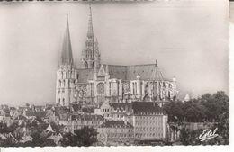 28A006A/A3 CPSM PF 28 - CHARTRES  LA CATHEDRALE **3 CARTES**  VUE D'AVION      1961 - Chartres