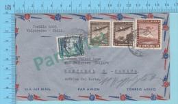 1950 ( Aerogramme, Cover Chili 1950 To Montreal Canada Reexpédié St-Hypolite Quebec Canada )2 Scans - Chili