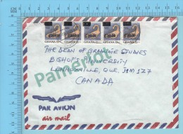 Ghana ( Aerogramme, Aerogram , Definitive Strip Of 5 Stamp Overprint C20.00  To Lennoxville Canada)2 Scans - Ghana (1957-...)