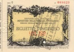 """Biglietto Da Lire 100 - Ingresso """"VILLA ROMANA DI PIAZZA ARMERINA"""" (EN) 1969"""