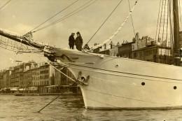 France Toulon Daladier Sur Le Yacht Vellela II à L'Ile D'Elbe Ancienne Photo 1937