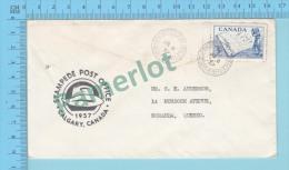 ( Cover Exibition Post Office Calgary Alberta Jul- 8- 1957 , Post Mark Stampede Post Office Send To  Quebec )2 Scans - 1952-.... Règne D'Elizabeth II