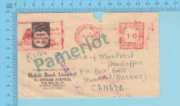 "Pakistan EMA Meter Mark, ""Habib Bank Limited Cover 18-IX-65 To Montreal Canada)2 Scans - Pakistán"