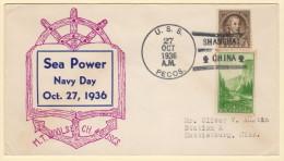 USA  USS Pecos Shanghai China Navy Day 10-27-1936 Sunk Off Java 03-01-1942 - 1912-1949 Republic