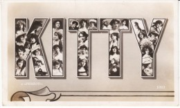 'Kitty' Large Letter Name, Women In Letters Of Name C1900s Vintage Postcard - Prénoms