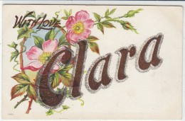 'Clara' Large Letter Name, Glitter Attached C1900s Vintage Postcard - Firstnames