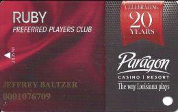 Paragon Casino Marksville LA 20 Year Anniversary Slot Card - Casino Cards