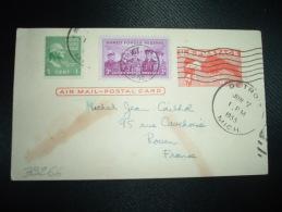 CP ENTIER Pour La FRANCE 4c + TP 3c + TP 1c OBL.JUN 7 1955 DETROIT - Autres