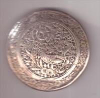 Antiquariato-Scatola Argento Originale Liberty-gr.48,50-diametro Cm.5,40-h. Cm.2,00-Incisione Fiori+uccellino-Punzonata - Gioielli & Orologeria