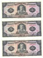 Ecuador 5 Sucres 1988, UNC X3. - Ecuador