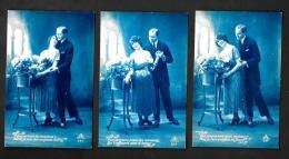 [DC2363] SERIE TRE CARTOLINE - COPPIA INNAMORATI - Non Viaggiata - Old Postcard - Coppie