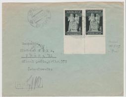 Yu050a / JUGOSLAWIEN -  Volksrepublik Mi.Nr. 488 II + I Im Paar Vom Bogenunterrand Per Einschreiben  CSSR 1946 - Covers & Documents