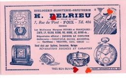 ZE-Buvard.-Horlogerie-Bijouterie-Orféverie-H.DELRIEU-FOIX(ecriture Bleu Fond Rose) - H