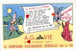 ZE-Buvard.-A.G.VIE-PARIS-LA COMPAGNIE D´ASSURANCES GENERALES SUR LA VIE-La Cigale Et L Fourmi - Buvards, Protège-cahiers Illustrés