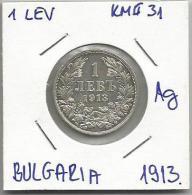 Gh4 Bulgaria 1 Lev 1913. KM#31 Silver Argent Plata Ag - Bulgaria