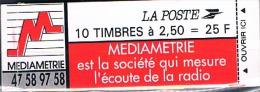 FRANCE CARNET   Type  Marianne De Briat   10 Timbres Médiamétrie - Autres