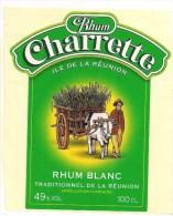 Etiquette  RHUM  Charrette Blanc Traditionnel 49° Appellation D'origine  - Ile De La REUNION - - Rum