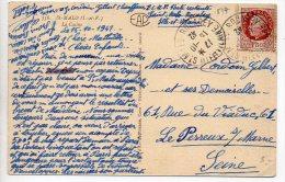 Pétain 1f50 Sur Carte De 1942 Affranchie Au Tarif Lettre (normal Car Le Texte Déborde Sur La Partie Adresse) - Postmark Collection (Covers)