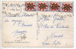 Blason Touraine X4 Sur Carte De 1952 - Poststempel (Briefe)